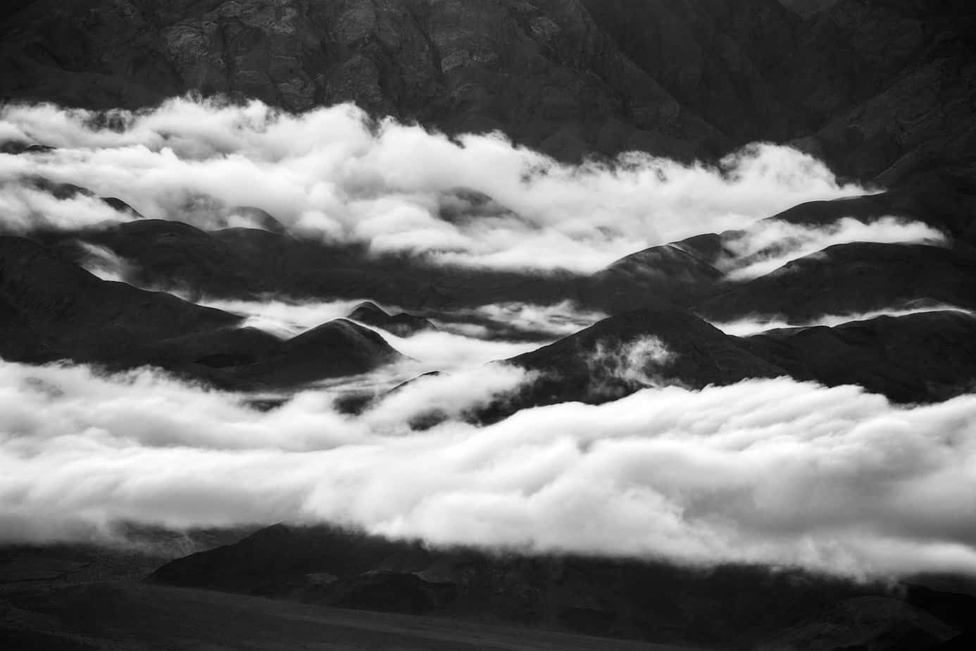 Heavy Rains Leave a Low Blanket of Clouds Hanging Over Death Valley (Death Valley National Park, California)